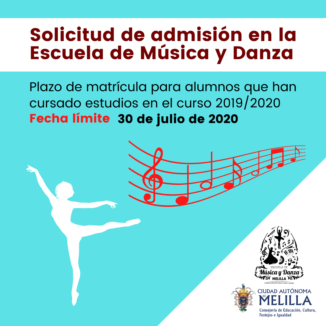 Abierto el plazo de inscripción para la Escuela de Música y Danza de la Ciudad Autónoma de Melilla