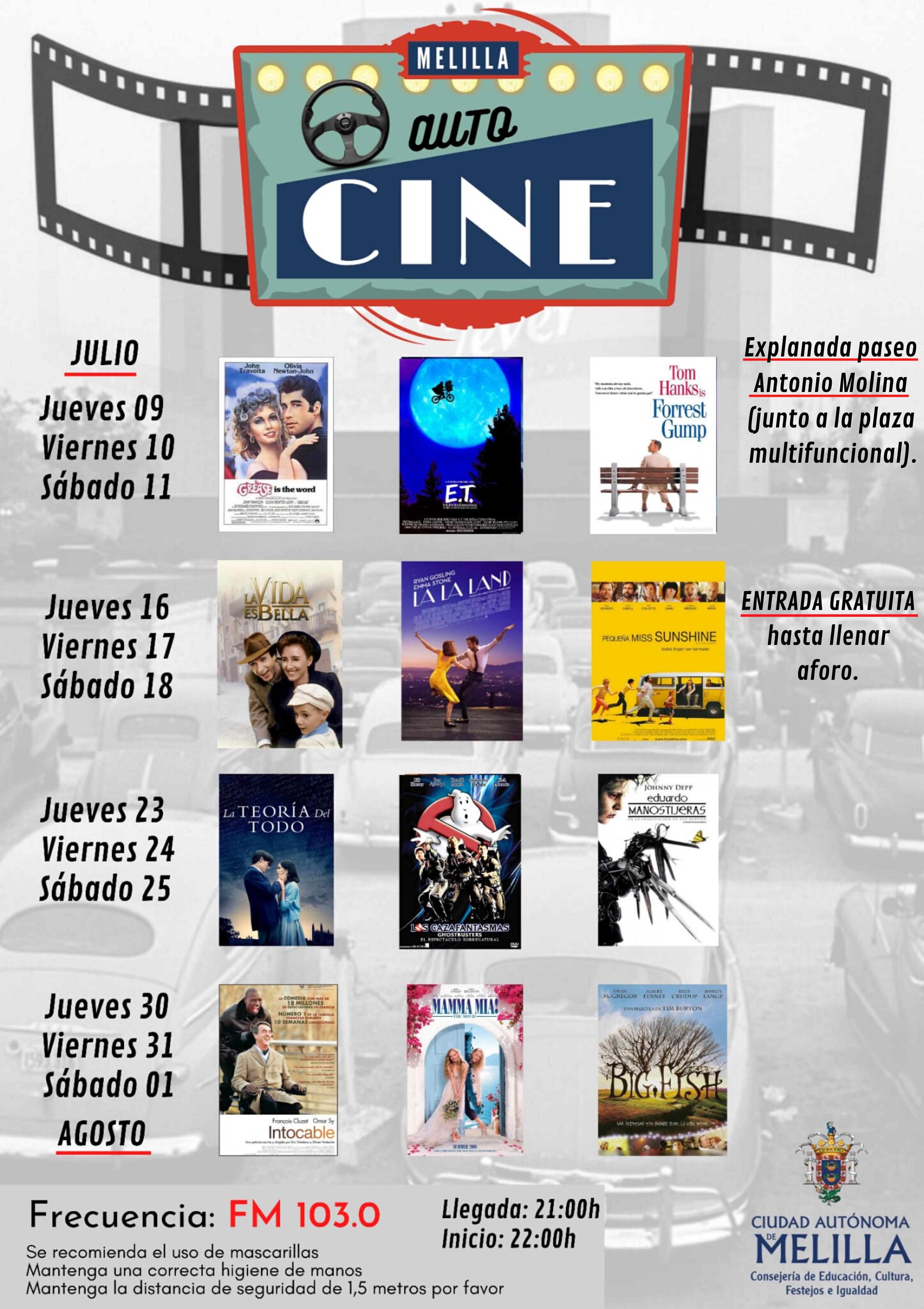 La Consejería de Cultura presenta el Autocine gratuito que proyectará 12 películas durante los próximos 4 fines de semana